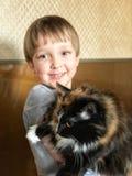 Jongen en Kat Royalty-vrije Stock Foto