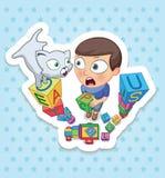 Jongen en Kat Gelukkige kinderjaren van jonge geitjes Grappige stickers royalty-vrije stock afbeeldingen