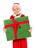 Jongen en Kerstmisgift Stock Foto