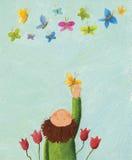 Jongen en kleurrijke vlinders Stock Foto