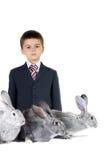 Jongen en konijnen Royalty-vrije Stock Foto