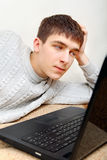 Jongen en Laptop 4 Stock Foto's