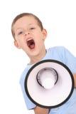 Jongen en megafoon Stock Afbeelding