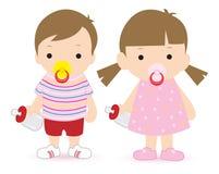 Jongen en meisje royalty-vrije illustratie