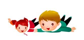 Jongen en Meisje Stock Foto