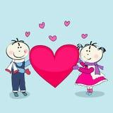 Jongen en meisje, de dag van de gelukkige valentijnskaart Royalty-vrije Stock Foto