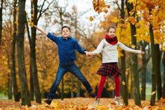 Jongen en meisje in de herfstpark Stock Foto's