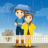 Jongen en meisje in de regen stock illustratie