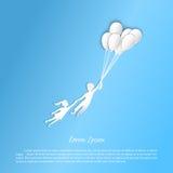 Jongen en meisje die met ballons vliegen Cijfers van het document Royalty-vrije Stock Foto's