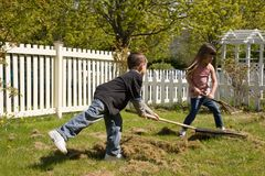 Jongen en Meisje die yardwork doen Royalty-vrije Stock Foto's