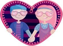 Jongen en meisje in het hart Stock Afbeelding