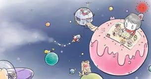Jongen en meisje levend in ruimte Stock Foto