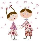 Jongen en meisje in liefde Stock Foto