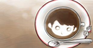 Jongen en meisje met een kop van koffie op lijst Royalty-vrije Stock Afbeelding