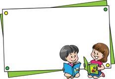 Jongen en meisje met lege kaartgrens vector illustratie