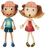 Jongen en meisje met naakte hersenen Stock Foto's