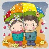 Jongen en meisje met paraplu onder de regen vector illustratie