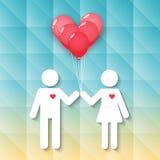 Jongen en meisje met rode hartballons vector illustratie