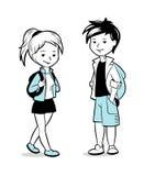 Jongen en meisje met rugzakken Stock Foto
