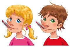 Jongen en meisje met thermometer. Royalty-vrije Stock Afbeeldingen