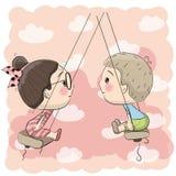 Jongen en meisje op de schommeling royalty-vrije illustratie