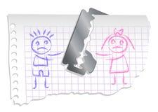 Jongen en meisje op een notitieboekjedocument Stock Foto's