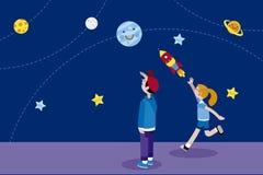 Jongen en Meisje en Planeten vector illustratie
