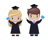 Jongen en meisjes gelukkige gediplomeerden stock illustratie