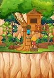 Jongen en meisjes het spelen bij treehouse vector illustratie