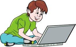 Jongen en notitieboekje stock illustratie