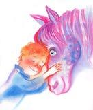 Jongen en paard royalty-vrije illustratie