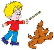 Jongen en Puppy stock illustratie