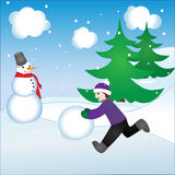 Jongen en sneeuwman Royalty-vrije Stock Afbeelding