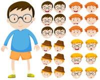 Jongen en verschillende gelaatsuitdrukkingen royalty-vrije illustratie