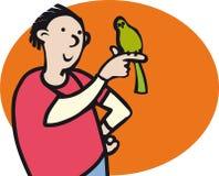 Jongen en Vogel Stock Foto