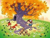 Jongen en Vos in het hout. Stock Afbeeldingen