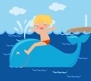 Jongen en walvis Stock Foto