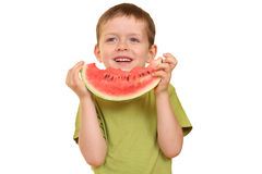 Jongen en watermeloen Royalty-vrije Stock Afbeelding
