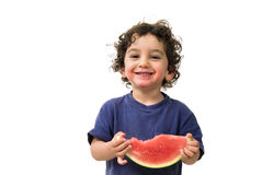 Jongen en watermeloen Stock Foto's