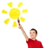 Jongen en zon Stock Afbeeldingen