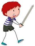 Jongen en zwaard Stock Afbeelding
