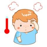 Jongen geworden koortsbeeldverhaal op hoge temperatuur Stock Foto's