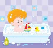 Jongen het baden royalty-vrije illustratie