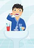 Jongen het Borstelen Tanden Vectorillustratie stock illustratie