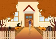 Jongen het kloppen op het de herfstconcept van het deuren vlakke ontwerp, truc of behandelt, pompoen, kat en kerkhof op nacht abs vector illustratie