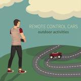Jongen, het leiden auto's op de radiocontrole Stock Foto's