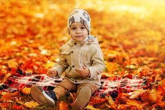 Jongen in het park in de herfst Stock Foto's
