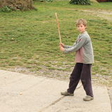 Jongen het spelen het hameren starlings Stock Foto's