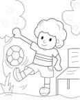 Jongen het spelen met een bal kleurende pagina Stock Afbeeldingen