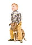 Jongen het spelen met een puppy Stock Foto's
